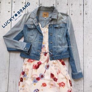 Lucky Brand floral drawstring waist maxi dress